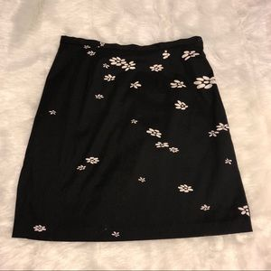 90's black white dot flower skirt side slit